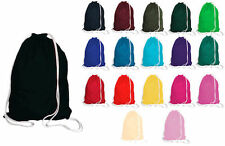DRAWSTRING BAGS 100% COTTON VARIOUS COLOURS SCHOOL/SWIM/DANCE/GYM
