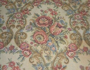 antique French Floral Roses Cartouche Cotton Tapestry Fabric ~ Coral Pink Blue