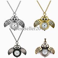 Vintage Bronze Retro Owl Pocket Watch Quartz Necklace Steampunk Men Women Gift