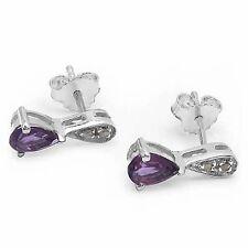 Ohrringe/Ohrstecker mit Diamant/Amethyst-Tropfen 0,84 Karat Silber-Rhodiniert