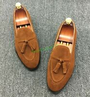 Fashion Mens Stylish Tassels Pointed Toe Suede Loafers Cool Slip On Dress Shoes