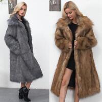 News Womens Winter Soft Faux Fur Parka Outwear Overcoat Jacket warm Long Coat
