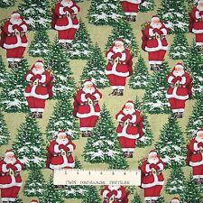 Christmas Fabric - Homespun Holiday Santa Claus - Benartex YARD