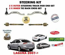FOR RENAULT LAGUNA  2007--> 2X OUTER + 2X INNER STEERING RACK TRACK TIE ROD ENDS