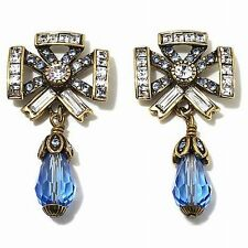 """HEIDI DAUS Crystal Bow Earrings """"American Icon"""" Baby Blue NIB Sold-Out (DS)"""