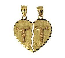 14K 2 Tone Real Yellow Rose Gold Te Amo Jesus Cross Heart Split Charm Pendant