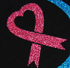 IRON ON TRANSFER glitter breast cancer awareness PINK RIBBON heart 2.3 inches