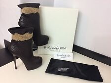 Ysl yves saint laurent 39 uk 6 rrp £ 720 en cuir marron, tribtoo boots