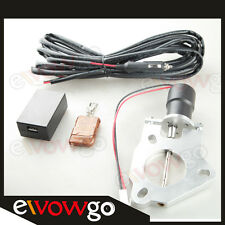 """2.5"""" 63mm Electric Exhaust Catback Downpipe Cutout Valve Motor + Remote Control"""