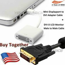 Thunderbolt Mini DisplayPort DP to DVI Adapter Converter+10FT DVI-D MonitorCable