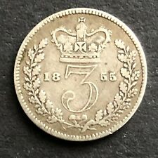 More details for 1855 yh queen victoria silver threepence decent grade low mintage rare coin