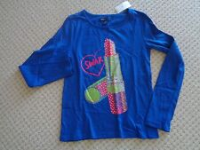 GAP  GIRLS TOP  SWAK  BLUE   Embellished Lipstick  Top   Size 8      NWT