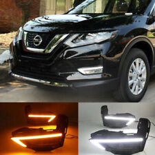 Pair DRL Fit for Nissan X-Trail 17-18 LED Daytime Running Light Fog Lamp W/ Turn