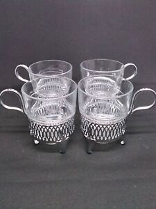 Vintage VERECO Glass & Chrome Mugs Set of 4 Made in France