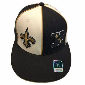 New Orleans Saints NFL Reebok Split Logos NFC 7 3/8 Fitted Cap Hat $26