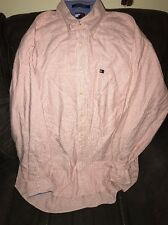 Tommy Hilfiger Mens Red/peach & White Striped Long Sleeve Shirt Large