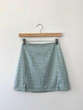 Brandy Melville Green White Plaid Mini Cara Skirt Slits Size Small