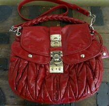 Miu Miu RED MATELASSE ' SHINY' PATENT LEATHER COFFER BAG