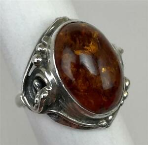 Art Nouveau Baltic Amber Cabochon Sterling Silver 925 Ladies Ring Size 8