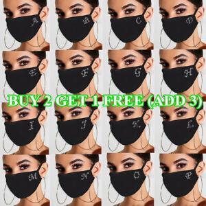Bling 26 Letter Alphabet Rhinestone Crystal Face Mask Safety Reusable Washable