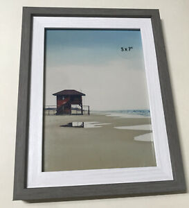 """5x7"""" Photo Picture Frame - Grey and White Veneer [New, Room Essentials] w/ stand"""