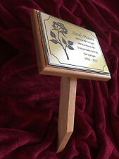Natural Oak Memorial Funeral Grave Marker & Stake Personalised & Made to Order