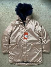 NWT Fera Milan Faux Fur Down Ski Snow Jacket Coat Rose Gold Womens Size 8
