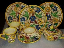 "Italy~Pottery""F▪B""Yellow Floral Sorrento SugarBowl/Lid,creamer,teacups & saucers"