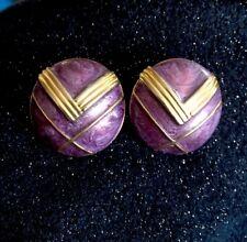 Boucle D'oreille Vintage Bijou Ancien Mauve Doré Earing