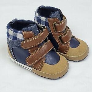 Koala Kids Boys Shoes 3 Brown Blue High Top Crib Boots Infant Baby Toddler