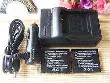 2X CGA-S005e Battery + Charger for Panasonic Lumix DMC-FX01, FX07, FX3, FX8, FX9