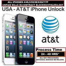 AT&T PREMIUM 100% UNLOCK SERVICES IPHONE 7, 7 PLUS, 6S, 6S PLUS, 5S, 5, DELAYED