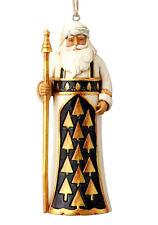 JIM SHORE~BLACK AND GOLD SANTA W STAFF ORNAMENT~CHRISTMAS~HEARTWOOD~2018~6001439