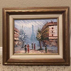 Framed Original Signed Caroline Burnett Eiffel Tower Oil Painting