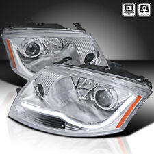 For 1999-2006 Audi TT Chrome Clear Projector Headlights w/ LED Strip Bar
