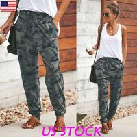 Women Camouflage Jogger Pants Camo Print Joggers Elastic Waist Casual Sweatpants