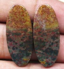 NATURAL BLOOD STONE CABOCHON OVAL SHAPE PAIR 25.60 CTS LOOSE GEMSTONE D 5805