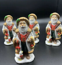 Set of 4 Vintage Santa Ceramic Christmas Holiday Napkin Rings Or Holders