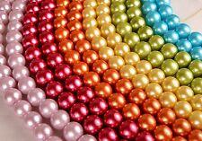 12mm Glass Pearls, Vibrant Aqua, 7 inch strand approx 20pcs GPS02210