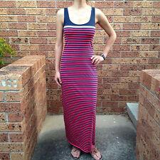 Women's Summer Sleeveless Stripe Maxi Tea Berry Casual Dress Size 8-10-12-14-16