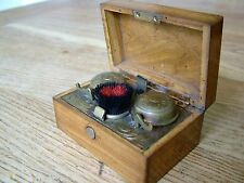 ANTIQUE VICTORIAN CAMPAIGN TRAVELLING DOUBLE INKWELL SPRUNG LOADED NO RESERVE
