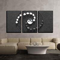 "Wall26 - Zen Stones with Yin and Yang - Canvas Art Wall Decor - 16""x24""x3 Panels"
