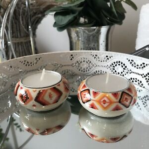 Set Of 2 Small Autumnal Orange Red Coloured Ceramic Tea light Candle Holder