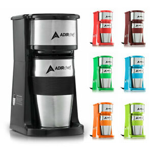 AdirChef Grab N' Go Personal Coffee Maker with 15 oz. Travel Mug Choose Color