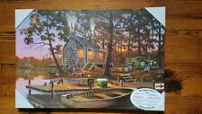Hunting Cabin LED Canvas Lighted Opening Day Geno Peoples Art Timer Riversedge