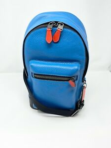 COACH 1990 West Sling Pack Pop Detail Men's Leather Bluejay Blue Miami Red NWT