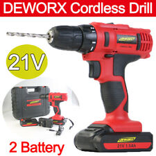 Rechargeable Cordless Drill Driver Electric Screwdriver Tool Bit Kit 2 Battery