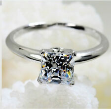 1CT Princess Cut Diamond Engagement Ring Solid 14K White Gold Fine Jewelry Gift