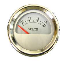 """Voltmeter Gauge, 2""""/52mm, 10-16V, white/chrome, blue LED, 043-V-WC"""