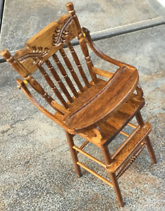 """Vintage Dollhouse Miniature Furniture Wooden Armed High Chair 3 1/2"""" Tall"""